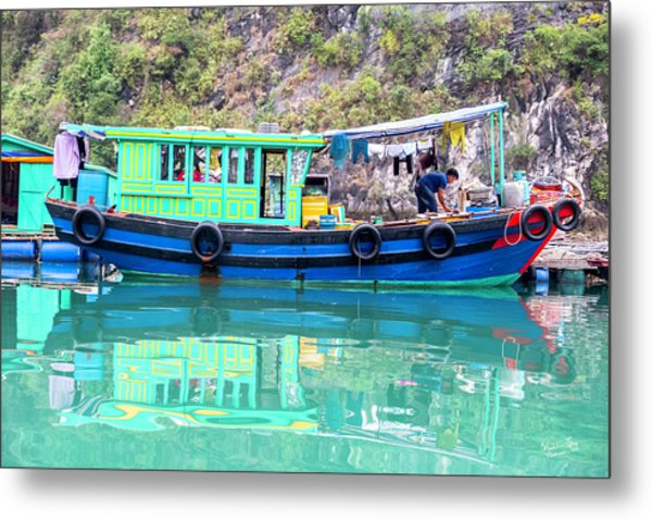 Reflections In Halong Bay, Vietnam Metal Print
