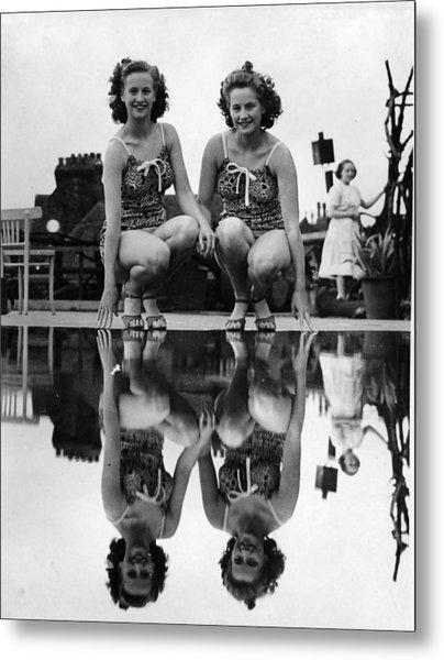 Reflected Twins Metal Print