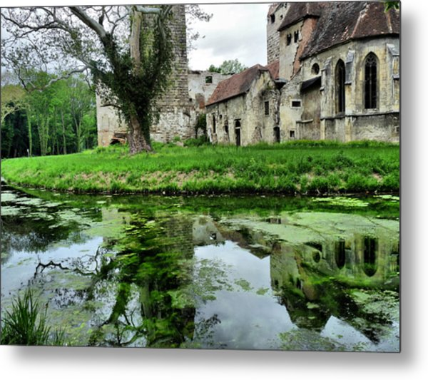 Reflection Of An Ancient Castle Metal Print