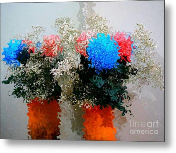 Reflection Of Flowers In The Mirror In Van Gogh Style Metal Print