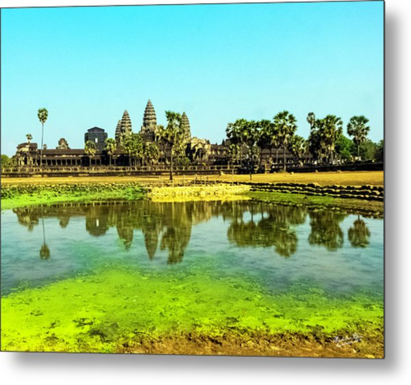 Reflections At Angkor Wat, Cambodia Metal Print