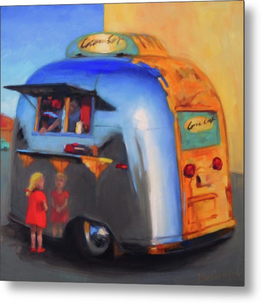 Reflections On An Airstream Metal Print