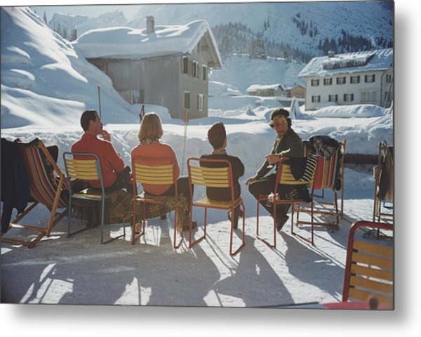 Relaxing In Lech Metal Print by Slim Aarons