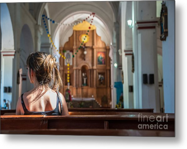 Religious Scene Young Female Praying At Metal Print