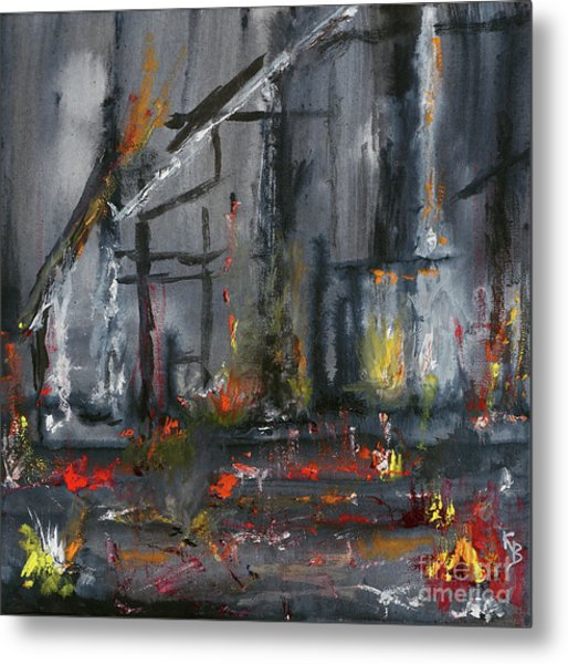 Metal Print featuring the painting Remains by Karen Fleschler