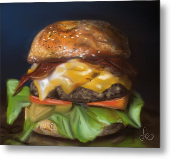 Metal Print featuring the pastel Renaissance Burger  by Fe Jones