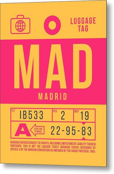 Retro Airline Luggage Tag 2.0 - Mad Madrid Barajas Airport Spain Metal Print