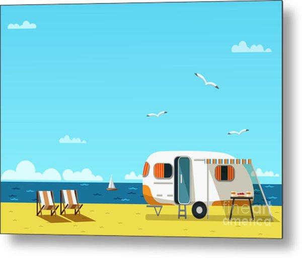 Retro Caravan On The Beach, Summer Metal Print