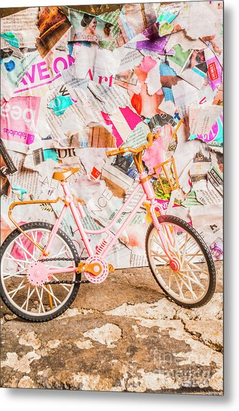 Retro City Cycle Metal Print
