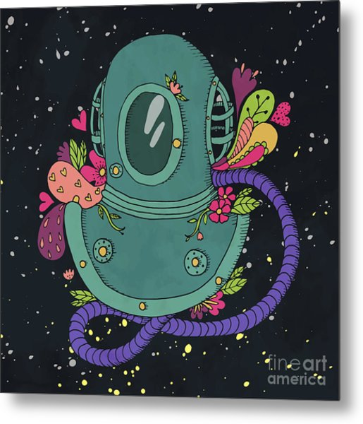 Retro Diving Suit With Abstract Metal Print