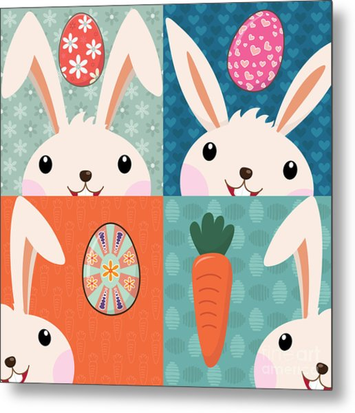 Retro Easter Bunny With Painted Eggs Metal Print