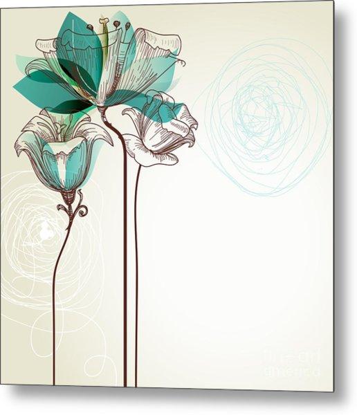 Retro Floral Background Metal Print