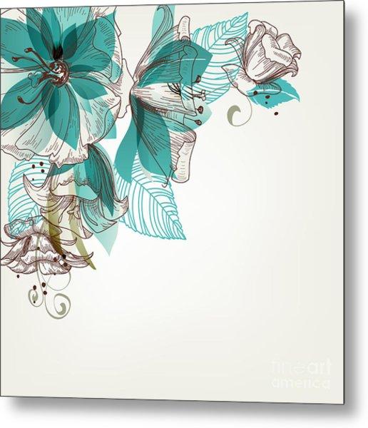 Retro Flowers Vector Illustration Metal Print