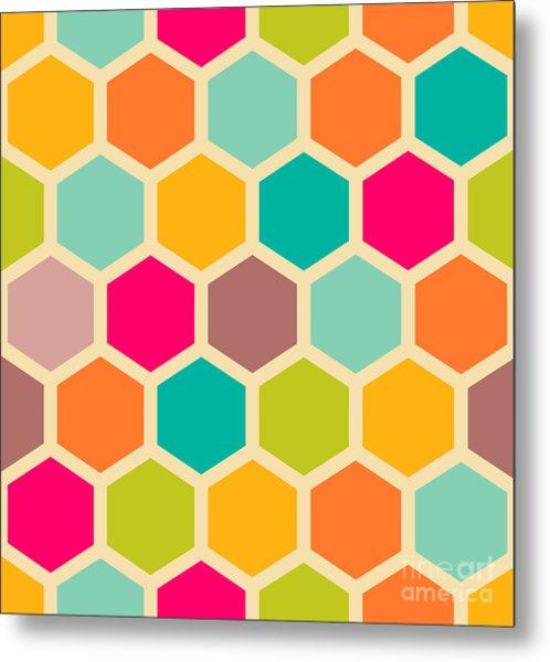Retro Geometric Hexagon Seamless Pattern Metal Print