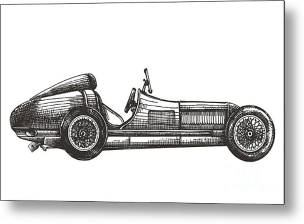 Retro Racing Car On A White Background Metal Print