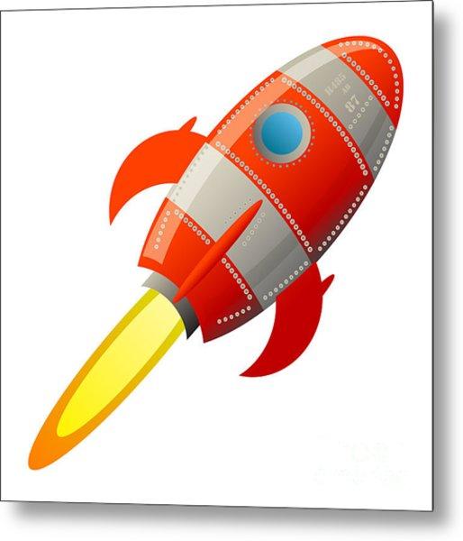 Retro Rocket, Vector Illustration Metal Print