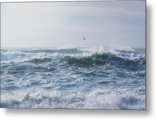 Reynisfjara Seagull Over Crashing Waves Metal Print
