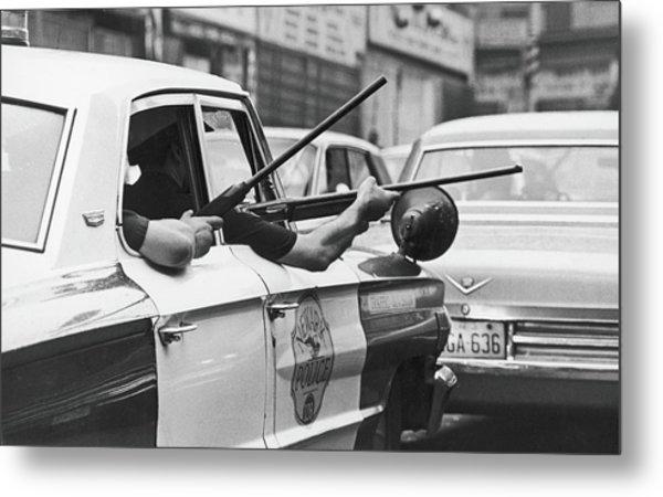 Riding Shotgun During Newark Riots, 1967 Metal Print by Fred W. McDarrah
