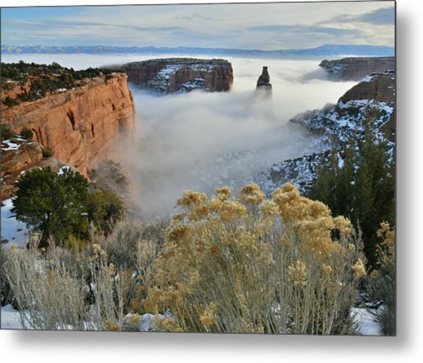 Rim Rock Drive View Of Fogged Independence Canyon Metal Print