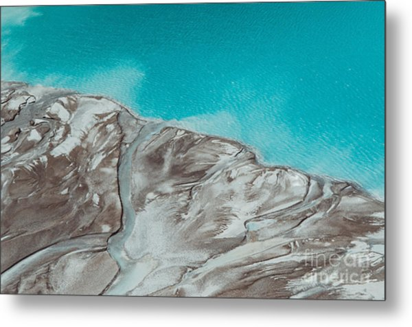 River Delta Flowing Into The Blue Pond Metal Print