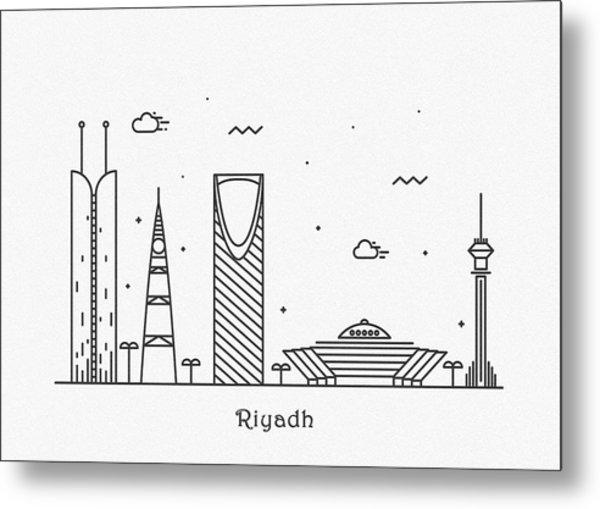 Riyadh Cityscape Travel Poster Metal Print