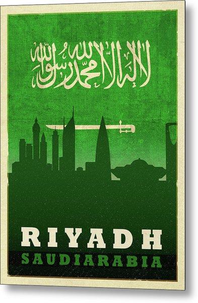 Riyadh Saudi Arabia City Skyline Flag Metal Print