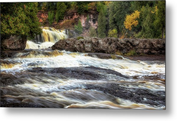 Metal Print featuring the photograph Roaring Gooseberry Falls by Susan Rissi Tregoning