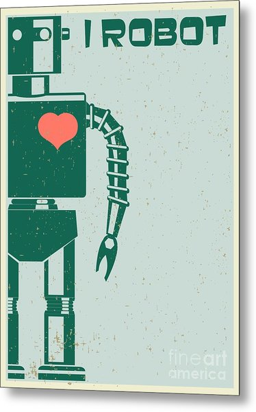 Robot With Heart On Chest, Retro Poster Metal Print
