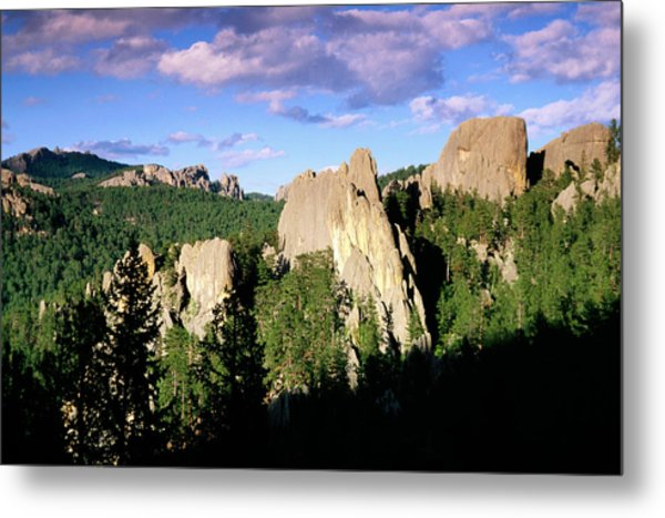 Rock Formations And Pine Forest Metal Print