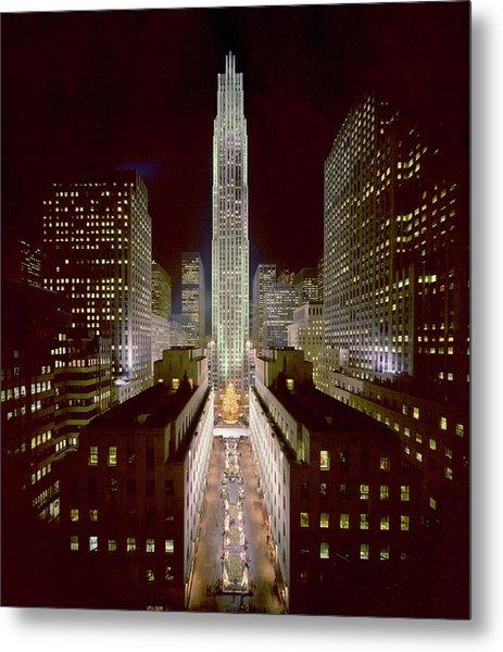Rockefeller Center, Manhatten, At Metal Print