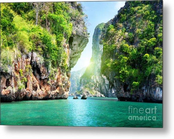 Rocks And Sea In Krabi Thailand Metal Print