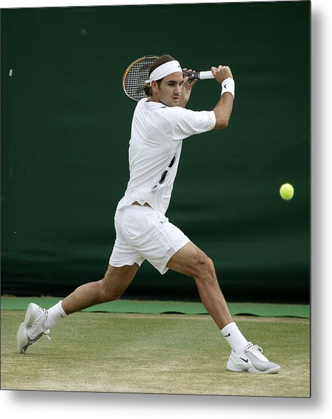 Roger Federer Of Switzerland In Action Metal Print by Phil Cole
