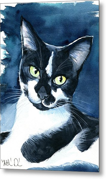 Rollie Tuxedo Cat Painting Metal Print