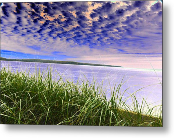 Rolling Blue Sky Over Lake Superior Metal Print