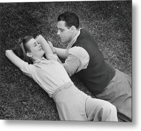 Romantic Couple Lying On Grass, B&w Metal Print