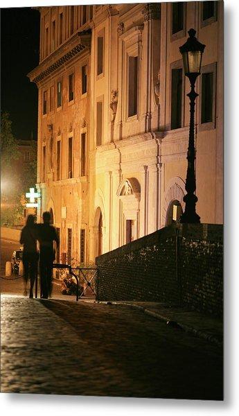 Romantic Rome, Latenight Couple In Metal Print