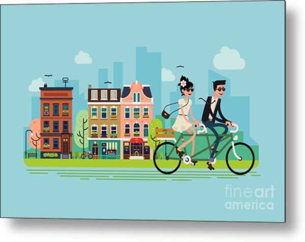 Romantic Vector Concept Illustration On Metal Print by Mascha Tace