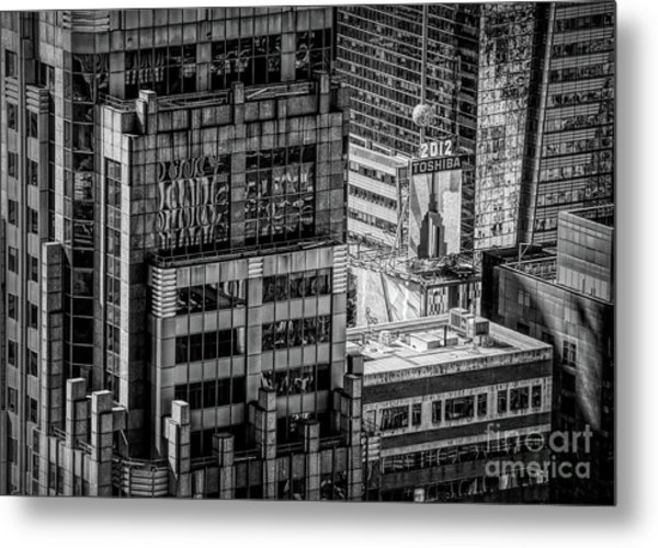 Roof Top Architecture Nyc Bw  Metal Print