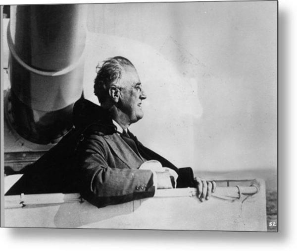 Roosevelt At Sea Metal Print by Keystone