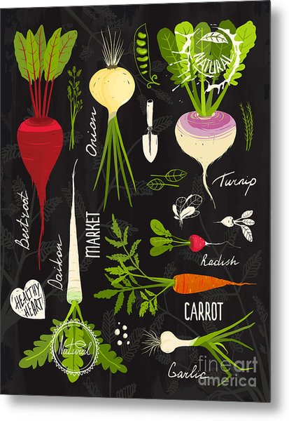 Root Vegetables With Leafy Tops Set For Metal Print