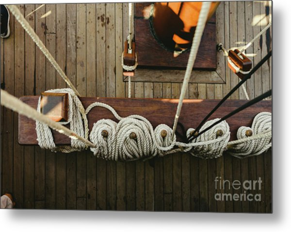 Ropes To Hold The Sails Of An Old Sailboat Rolled. Metal Print