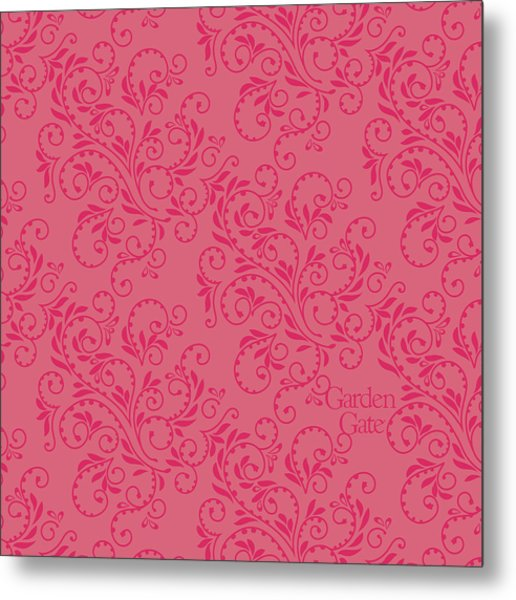 Rose Colored Fern Pattern Metal Print