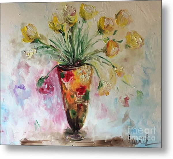 Metal Print featuring the painting Roses In Vase by Laurie Lundquist