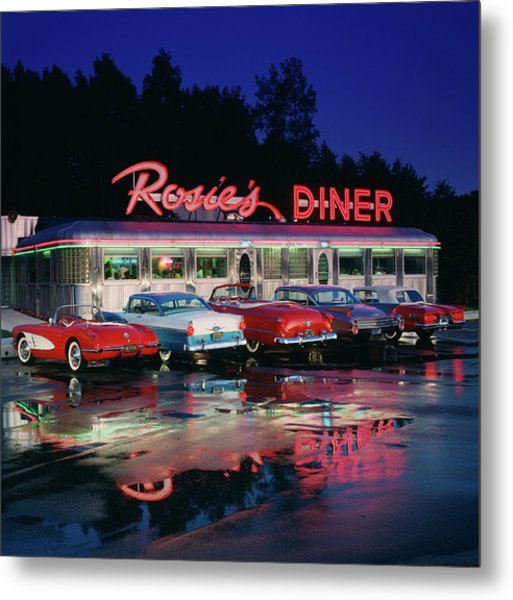 Rosies Diner Metal Print by Car Culture