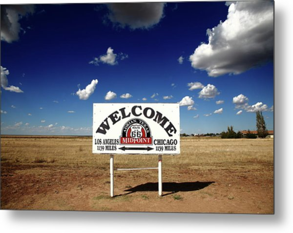 Route 66 - Midpoint Sign 2010 Bw Metal Print