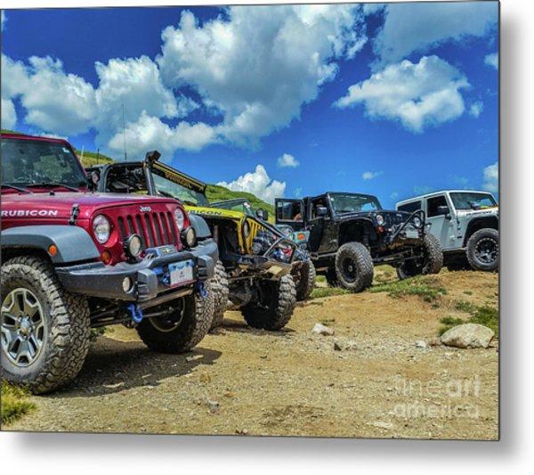 Row Of Jeeps Metal Print