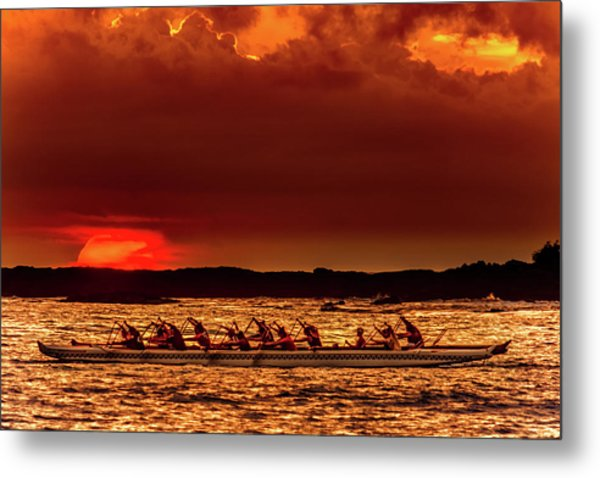 Rowing In The Sunset Metal Print