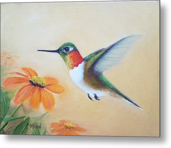 Rufous In Marigolds  Metal Print