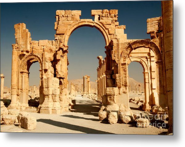 Ruins Of Ancient City Of Palmyra In Metal Print by Zdenek Chaloupka