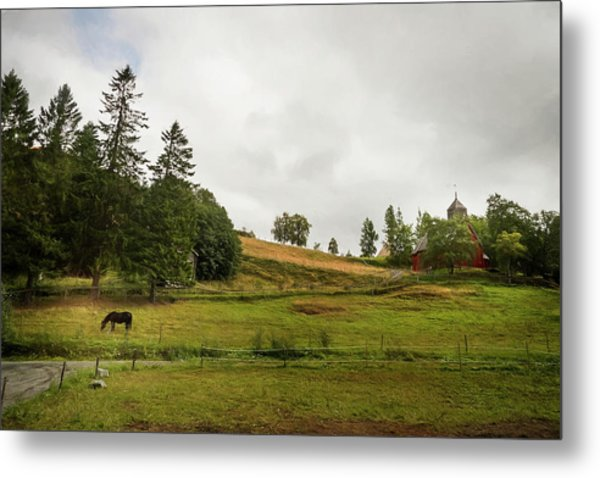 Rural Landscape In Trondheim Norway Metal Print
